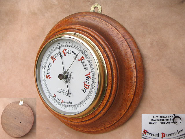 Oak cased aneroid barometer by A W Boatman, Southend, circa 1890