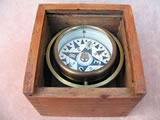 19th century miniature gimballed boat compass in Oak case, circa 1890
