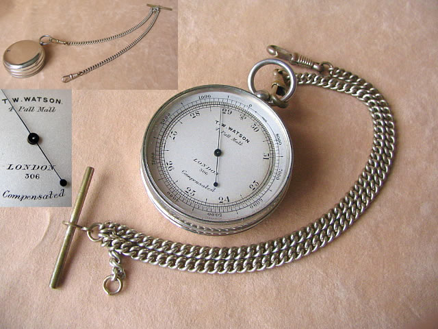 Victorian pocket barometer with altimeter bezel, on albert chain