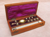 19th century Sikes hydrometer set by BUSS of Hatton Garden with book of tables