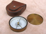 19th century explorers style  pocket compass by Francis Barker, with leather case.
