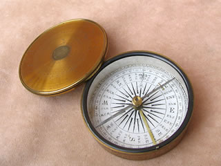 Close up view of compass dial