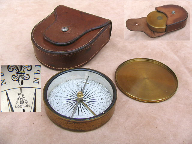 19th century explorers style  pocket compass by Francis Barker, with leather case