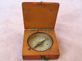 Mid 19th century mahogany cased pocket compass retailed by Lennie Edinburgh