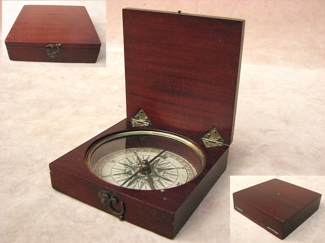 Early 19th century mahogany cased pocket compass circa 1820