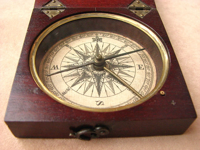 Close up view of compass dial & hand made hingesClose up view of compass dial & hand made hinges