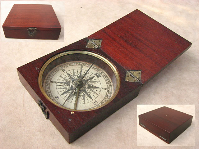 Early 19th C mahogany pocket compass circa 1820