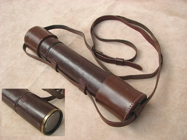 Broadhurst Clarkson 3 draw leather clad telescope with end caps & strap. Inset shows scuff mark on hood.