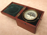 Antique gimbal mounted deck compass in mahogany case
