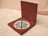 19th century mahogany cased desk top compass
