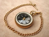Late 19th century pocket compass with mother of pearl dial