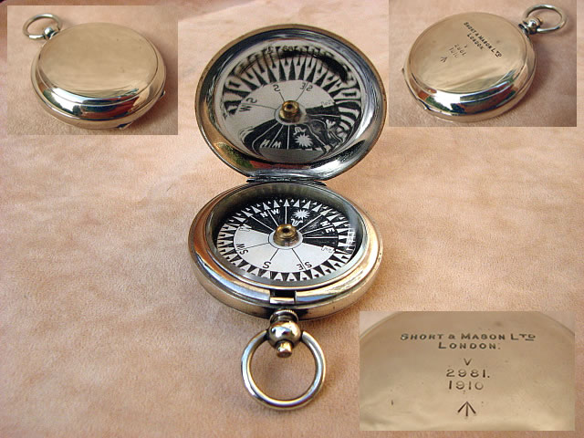 Early MK V Officers pocket compass by Short & Mason dated 1910