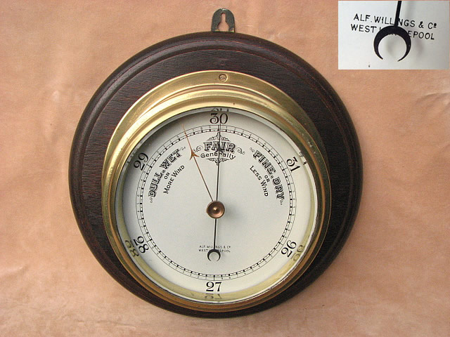 Ships marine barometer by Alf Willings & Co, Hartlepool