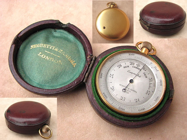 Victorian pocket barometer with altimeter by Negretti & Zambra