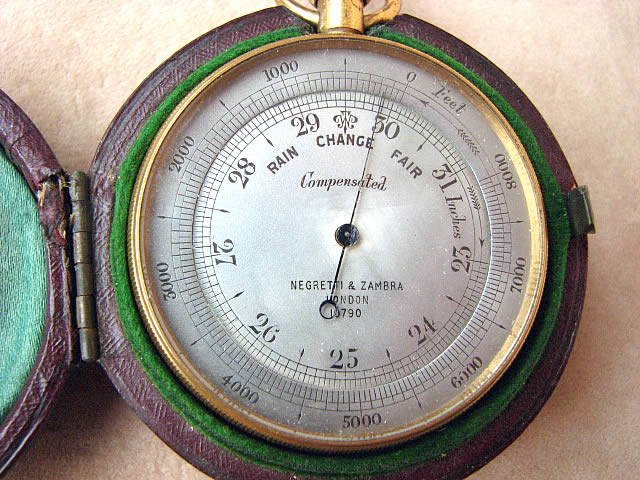Close up view of barometer dial