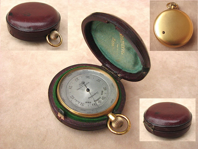Gilded pocket barometer by Negretti & Zambra circa 1885
