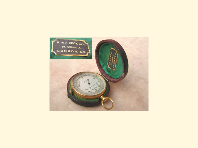 Gilded pocket barometer by  R & J Beck circa 1890
