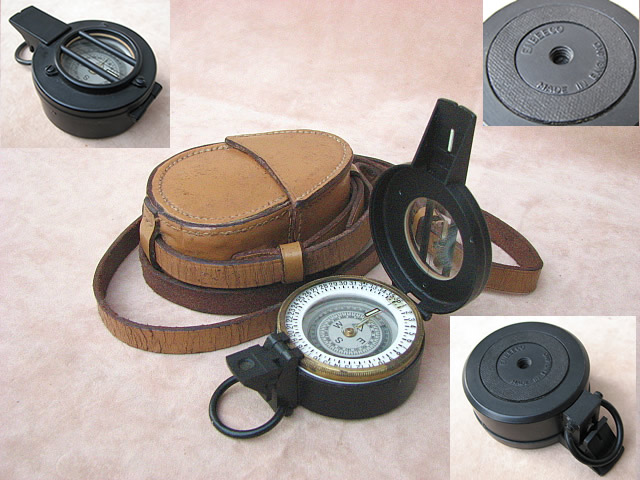 Enbeeco liquid filled pocket compass with leather case