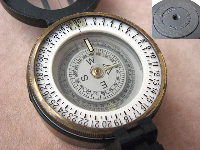 Close up view of degrees dial