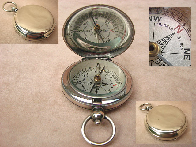 Antique pocket compass by Francis Barker & Son
