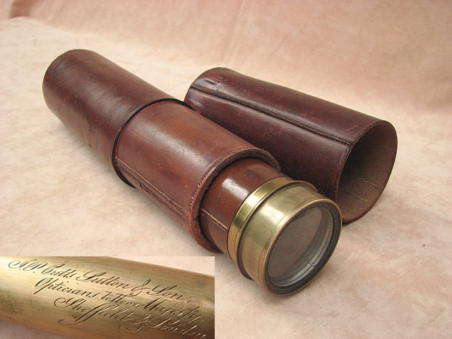 Mid 19th century 4 draw marine telescope  by J P Cutts Sutton & Son, Opticians to Her Majesty, Sheffield & London