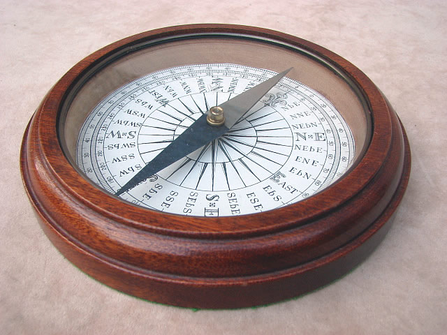 Edwardian mahogany cased desk top compass circa 1910