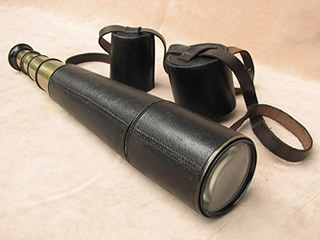 Early 20th century Aitchison 3 draw field telescope with pancratic tube to 40x magnification