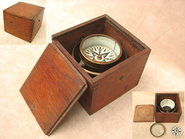 Gimbal mounted small boat compass - mid 19th century