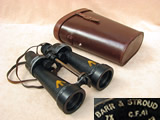WW2 British Navy binoculars with leather case by Barr & Stroud