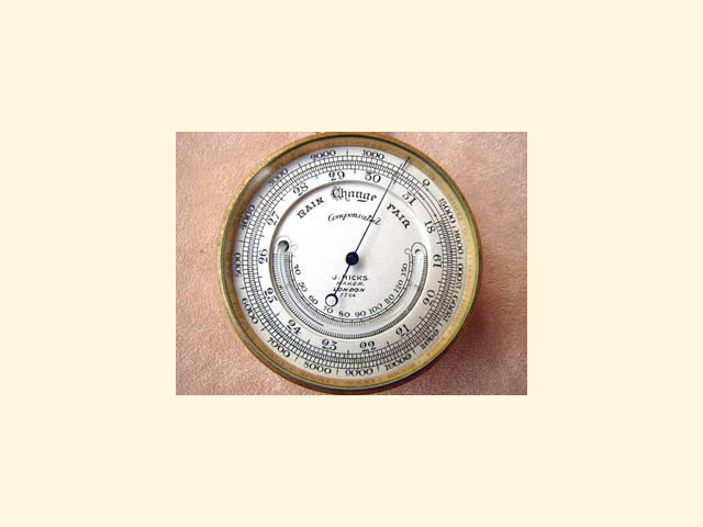 Victorian pocket barometer & thermometer with altimeter by James Hicks, circa 1880.