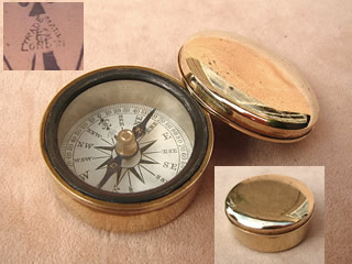 19th century brass cased pocket compass