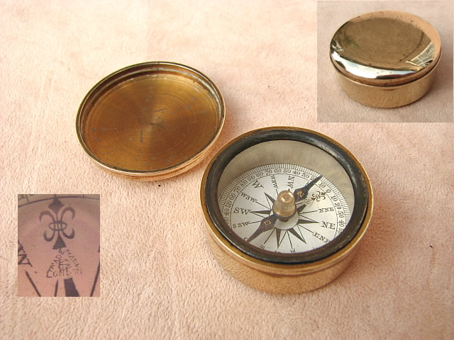 Victorian brass cased pocket compass by Francis Barker & Son