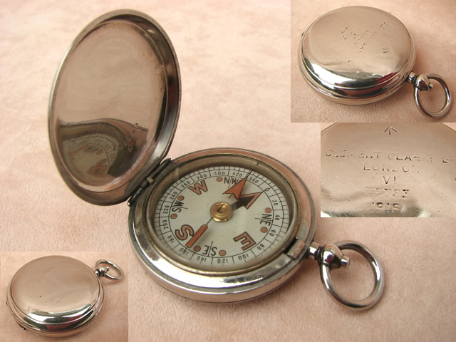 WW1 Clement Clarke MK VI military pocket compass dated 1918