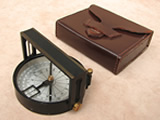 Vintage Hilger & Watts handle compass/clinometer with leather case
