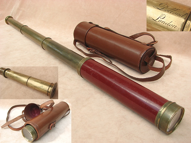 Late 18th century 3 draw mahogany barrelled telescope signed Dollond London