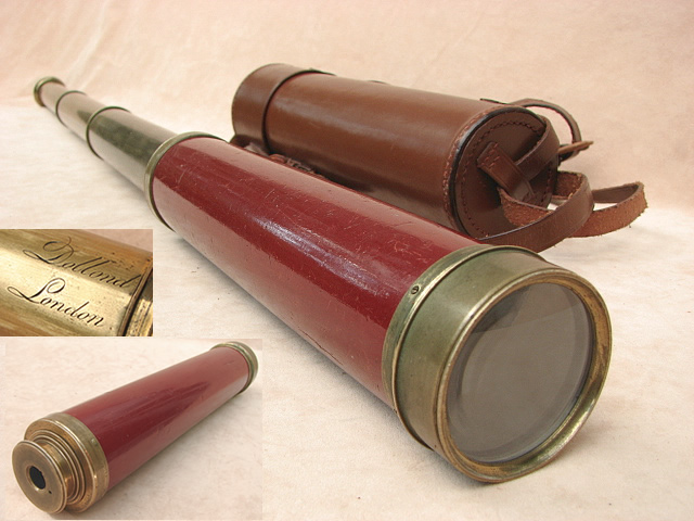 Late 18th century 3 draw telescope signed Dollond London, with leather case.