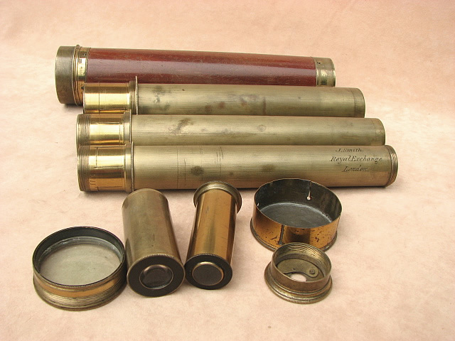 Late 18th century 3 draw marine pocket telescope with segmented draw tube, signed Dollond London.