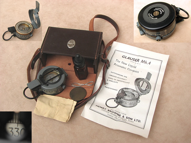 Rare 1950's Glauser MK 4 prismatic compass with original service kit & instructions