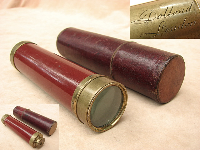 Late 18th century 3 draw marine pocket telescope signed Dollond London.