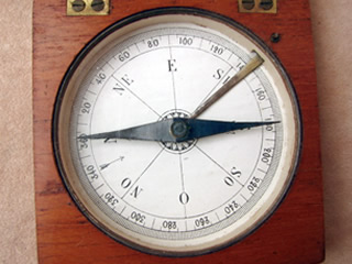 Close up view of paper dial showing French dial design