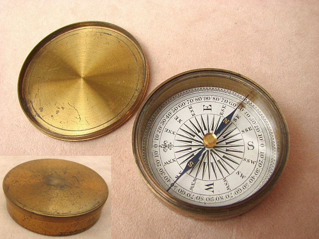 Travellers brass pocket compass circa 1860