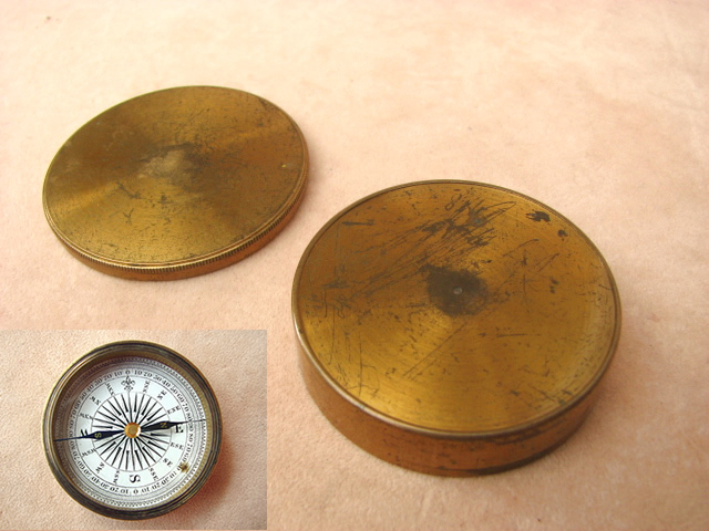 Underside view of compass body with lid