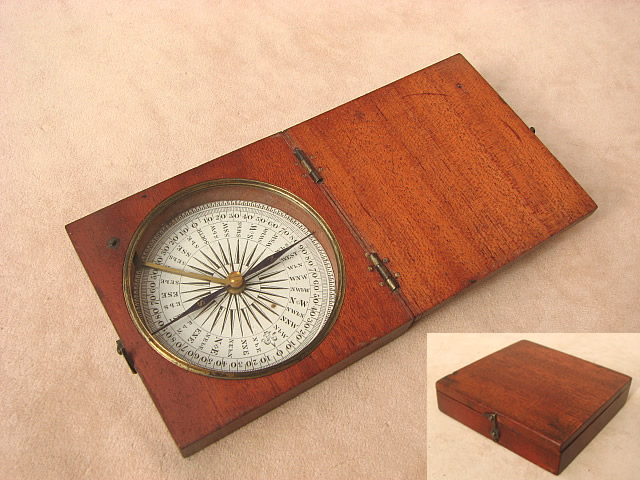 Early Victorian mahogany cased pocket compass