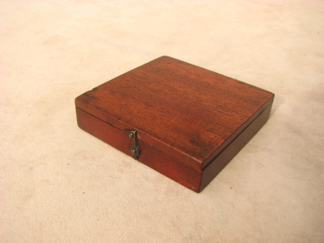 Victorian mahogany pocket compass - closed view