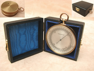 Vintage aneroid pocket barometer with case