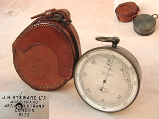 WW1 period aneroid pocket barometer by J H Steward, London.