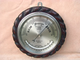 John Barker compensated marine aneroid barometer with curved thermometer