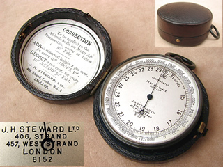 19th century Balloonists pocket barometer & high altitude altimeter by J H Steward