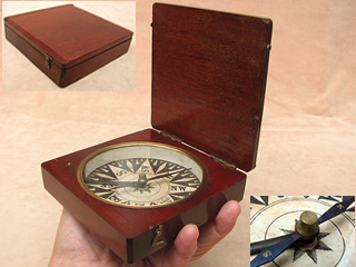 Mid 19th century mahogany cased pocket compass circa 1860