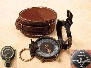 Francis Barker WW2 MK IX prismatic marching compass with case